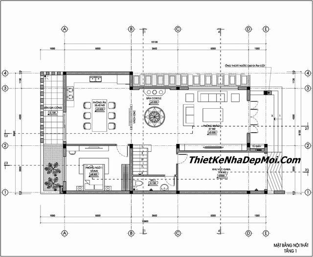 Bản vẽ biệt thự 3 tầng 9x17m có gara