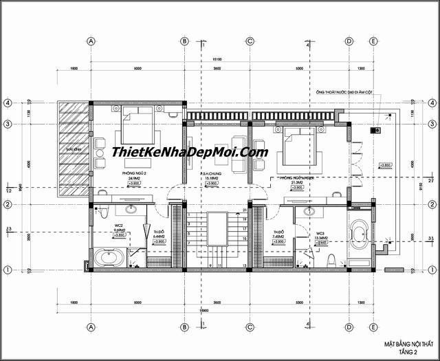 Mặt bằng biệt thự 2.5 tầng mặt tiền 9m
