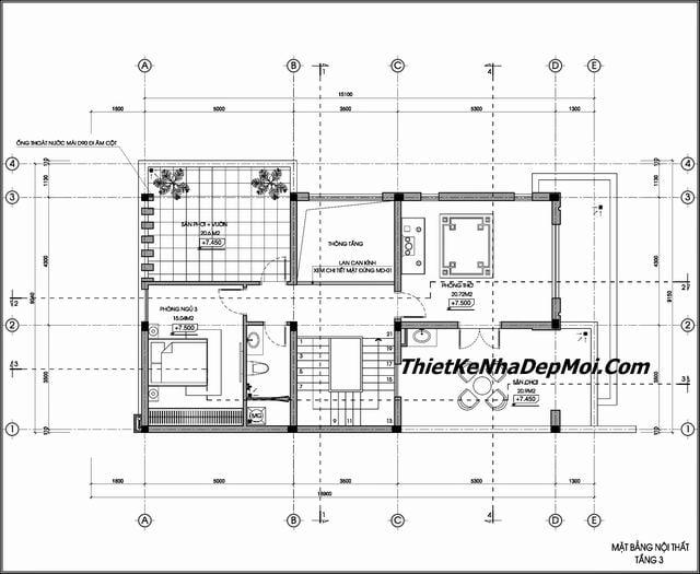 Bản vẽ biệt thự 2 tầng 1 tum 9x17m