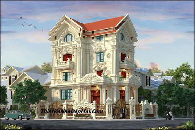 Biệt thự kiểu pháp đẹp 4 tầng 2 mặt tiền 2020