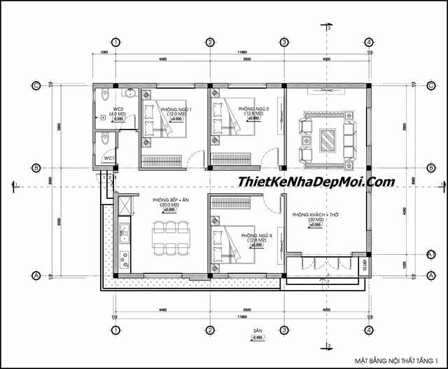 Bản vẽ nhà thái cấp 4 3 phòng ngủ 1 phòng thờ 120m2