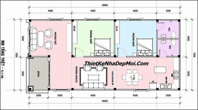 Mẫu nhà trệt mái thái 2 phòng ngủ rộng