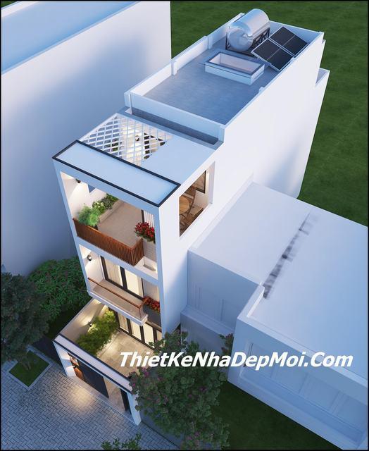 Mẫu thiết kế nhà ống lệch tầng 4x15m view 3