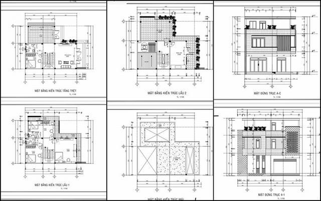 Thiết kế nhà vuông 2 tầng 10x10m