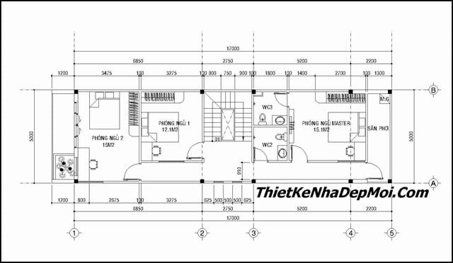 Thiết kế nhà ống 2 tầng 5x17m
