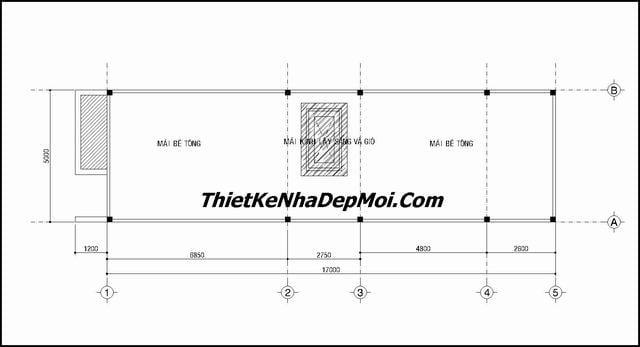 Bản vẽ thiết kế nhà 5x17m tầng mái