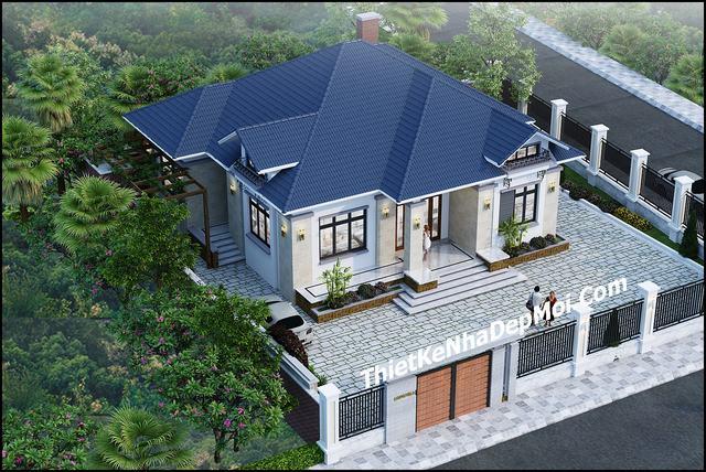 Mẫu nhà đẹp 1 tầng mái thái nông thôn 160m2
