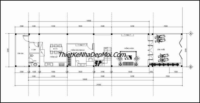 Thiết kế nhà 2 tầng 80m2 3 phòng ngủ
