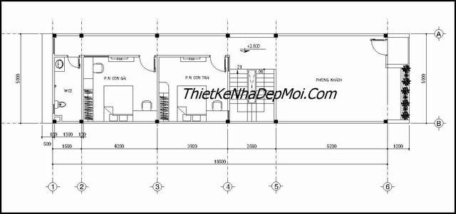 Nhà 2 tầng 3 phòng ngủ đơn giản