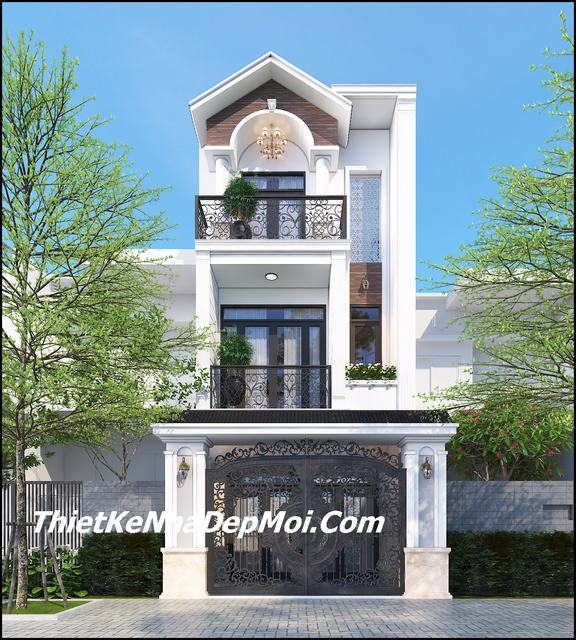 Thiết kế nhà mái ngói 1 trệt 2 lầu thành thị hiện đại 3 tầng 90m2