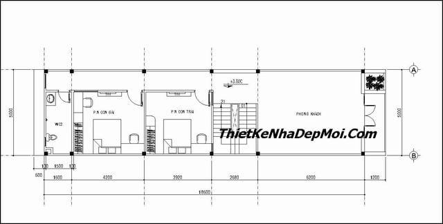Nhà 3 tầng mái ngói hiện đại ở thành thị 5x18