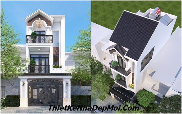 Mẫu thiết kế nhà phố 3 tầng mái thái bán cổ điển đẹp 5x18