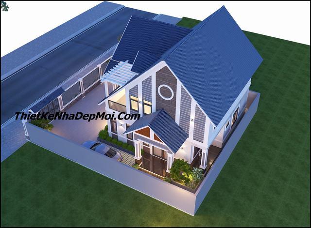 Thiết kế nhà vườn 2 tầng mái thái kiến trúc hiện đại 200m2
