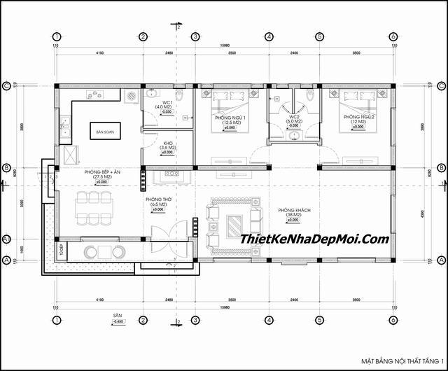 Bản vẽ nhà 1 tầng 1 phòng ngủ 1 phòng thờ