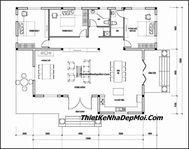 Bản vẽ nhà trệt 3 phòng ngủ sân vườn mái thái 16x12