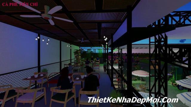 Thiết kế quán cà phê sân vườn đơn giản