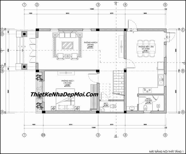 Bản thiết kế nhà 2 tầng 4 phòng ngủ