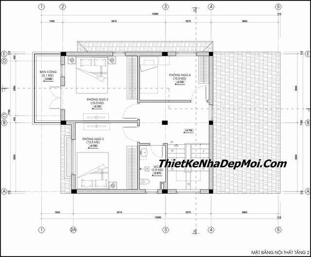 Mặt bằng nhà 2 tầng 4 phòng ngủ 100m2