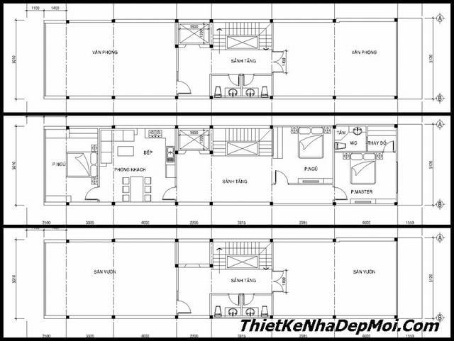Bản vẽ nhà ống có thang máy 10 tầng 5x25m