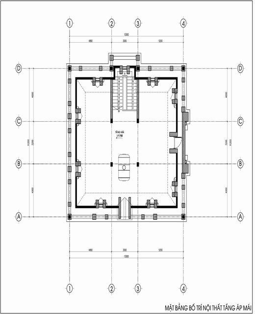 Thiết kế biệt thự 3 tầng cổ điển áp mái