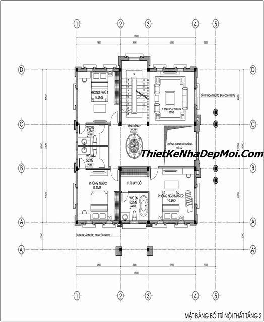 thiết kế nhà biệt thự 3 tầng cổ điển 150m2