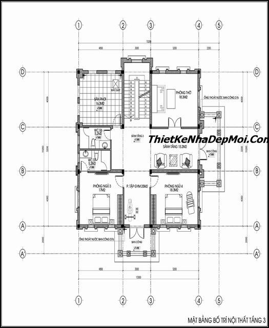 thiết kế biệt thự cổ điển 3 tầng 150m2