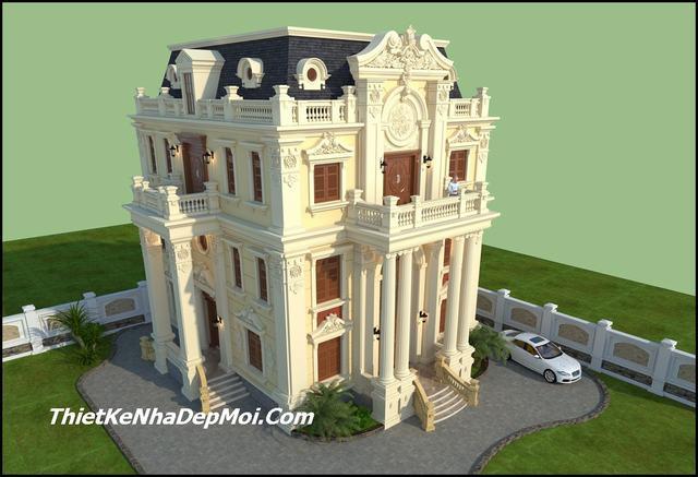 nhà biệt thự 3 tầng cổ điển 150m2