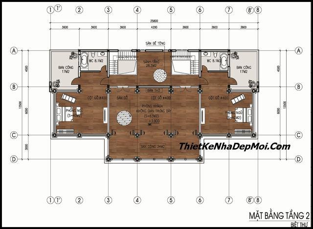 Bản vẽ nhà gỗ 2 tầng 14x23m