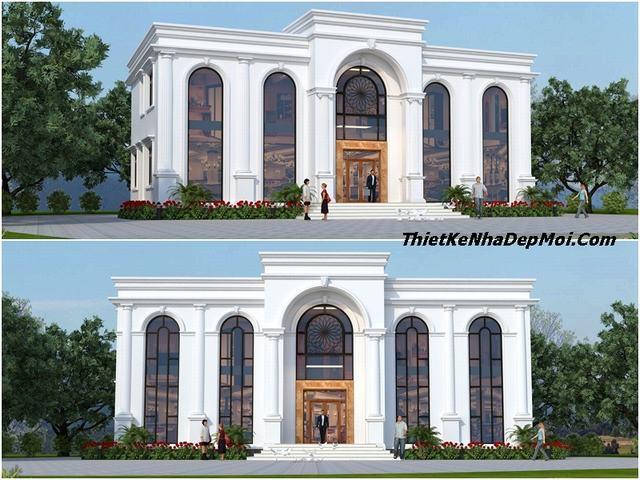 Mẫu thiết kế nhà văn phòng 2 tầng 1 tum hiện đại 210m2