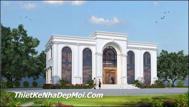 Mặt tiền mẫu toà nhà 2 tầng 1 tum đẹp mái bằng 20x10