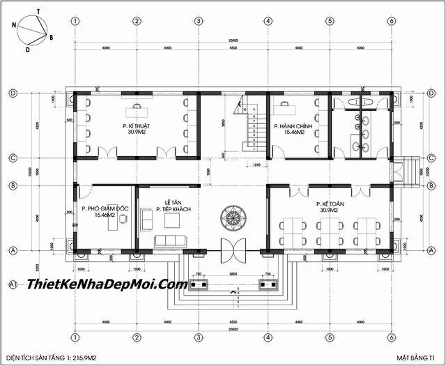 Tầng 1 mẫu thiết kế toà nhà làm văn phòng hiện đại20x10m