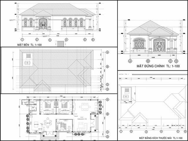Bản vẽ xây biệt thự vườn 1 tầng đẹp 2020