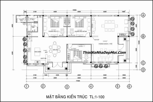 Mặt bằng biệt thự vườn 1 tầng 3 phòng ngủ 10x20