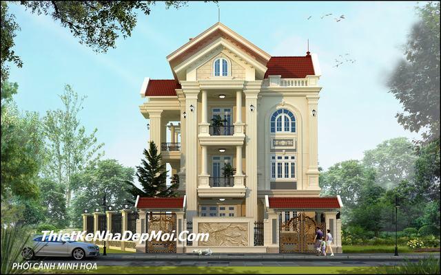Thiết kế biệt thự mini 3 tầng mái thái