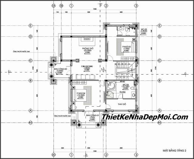 Thiết kế biệt thự mini 3 tầng 13x17m