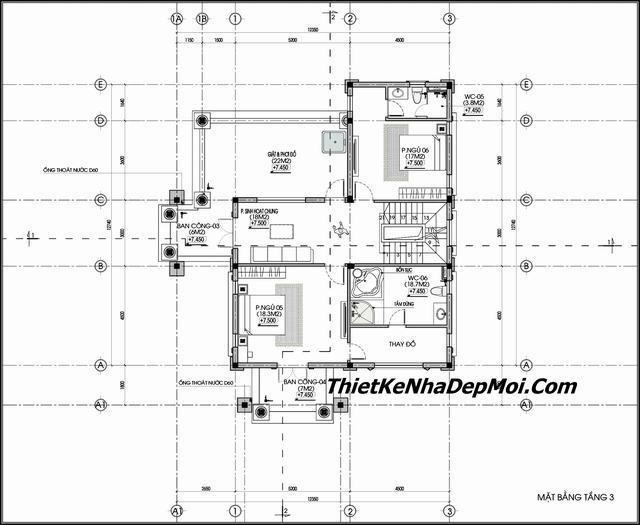 Mặt bằng nhà biệt thự 3 tầng kiểu pháp 13m