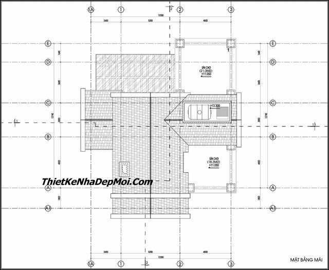 Bản vẽ biệt thự 3 tầng 13x17m mái