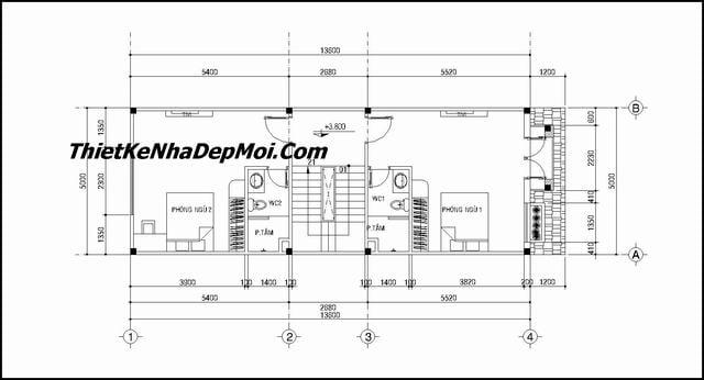 Bản vẽ thiết kế nhà 3 tầng mái thái 5x20
