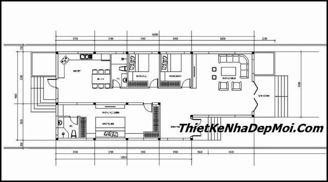 Mặt bằng nhà cấp 4 3 phòng ngủ 1 phòng thờ chữ L