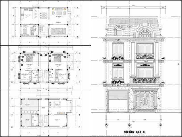 Thiết kế nhà kiểu pháp 3 tầng 120m2