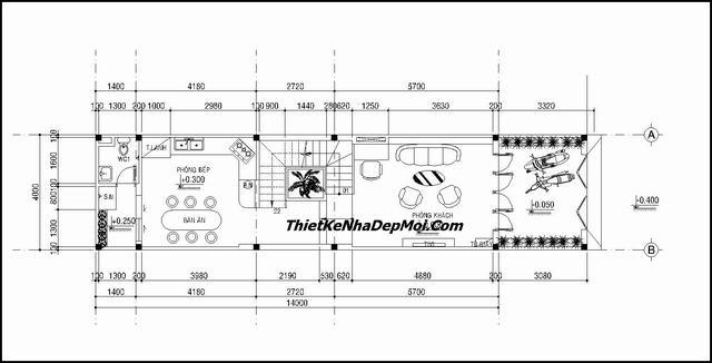 Thiết kế nhà ống 2 tầng 60m2