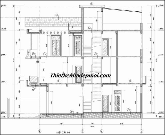 Bản vẽ nhà ống 3 tầng 1 tum 6x15m 2020