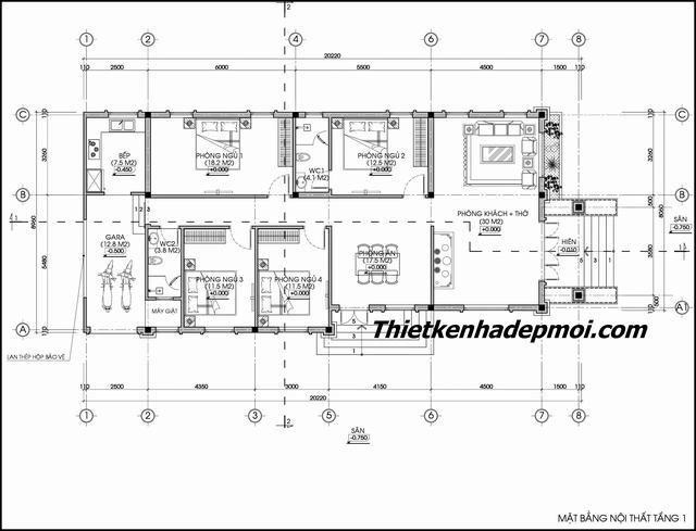 bản vẽ nhà mái thái 4 phòng ngủ 1 phòng thờ