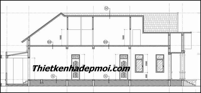 Bản vẽ nhà vườn 1 tầng 4 phòng ngủ 9x20m