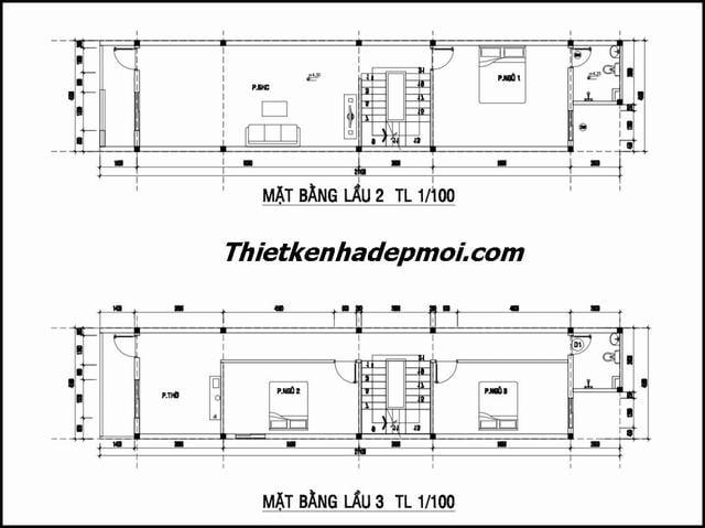 Bản vẽ nhà 6 tầng 4.5m