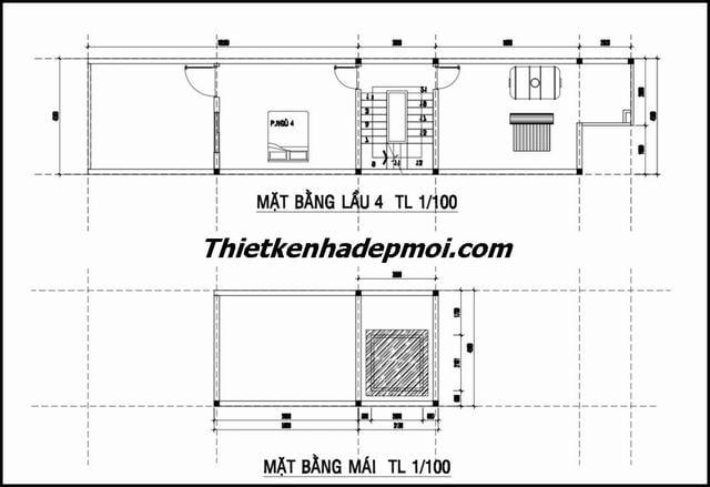 Bản vẽ nhà ống 6 tầng kiểu pháp