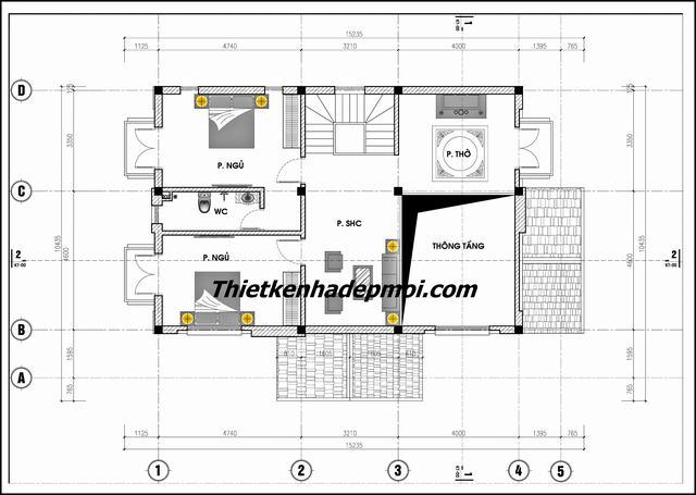 Mặt bằng nhà mái thái 1 tầng ở quê 3 phòng ngủ