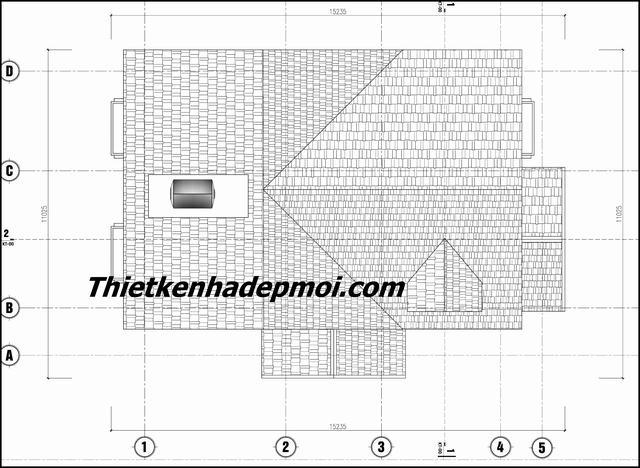 Bản vẽ thiết kế nhà mái thái 1 tầng 140m2