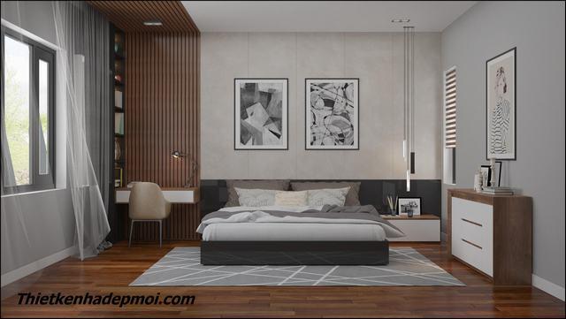 Nội thất phòng ngủ hiện đại đơn giản 24m2