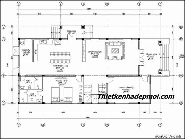Mặt bằng nhà biệt thự 2 tầng 9x20m